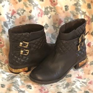 Vince Camuto Brown Leather Quilted Boots Gold 7